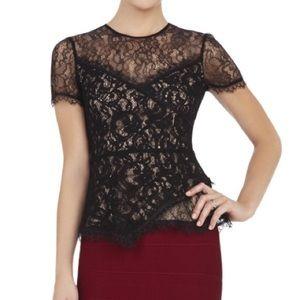 NWOT BCBG black lace top XS
